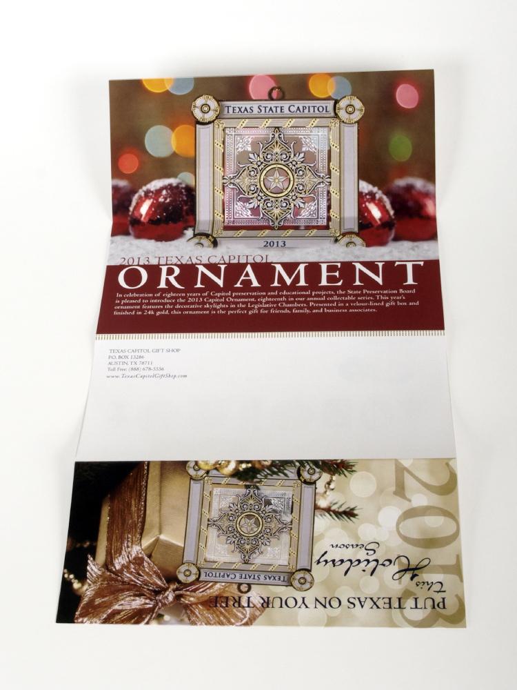State Preservation Board Ornament Brochure 2013; designed by Julie Mendez.