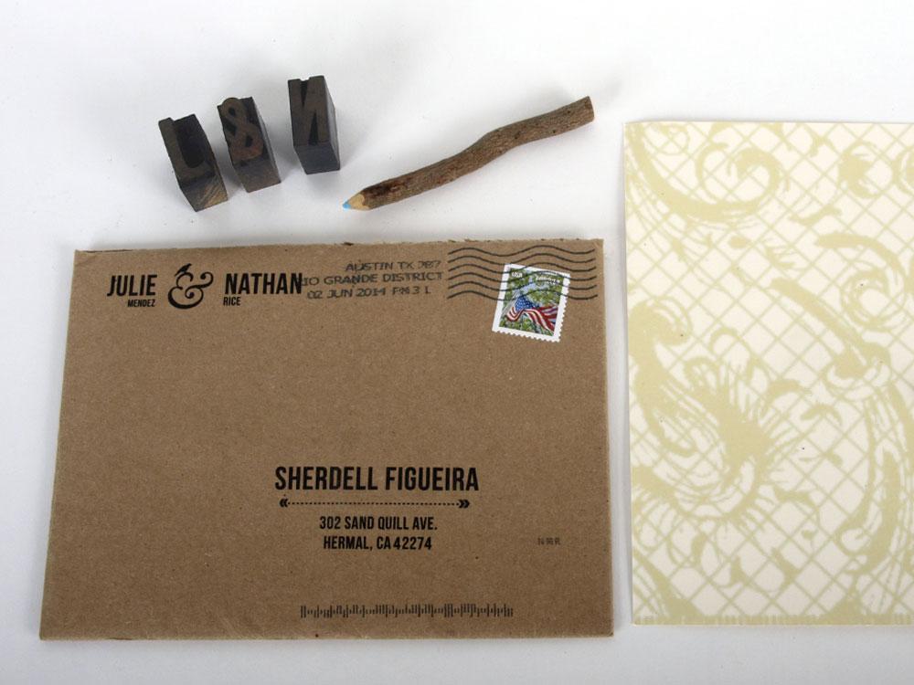 Wedding Invitations Designed by Julie Mendez. Close up of envelope design.