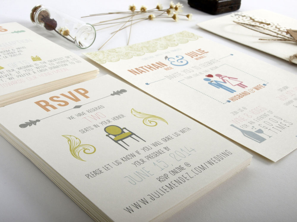 Wedding Invitations Designed by Julie Mendez. Close up of RSVP card.