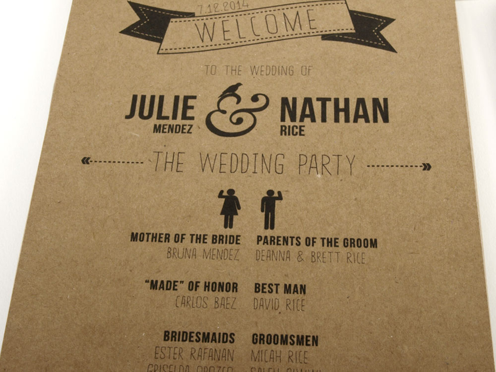 Wedding Invitations Designed by Julie Mendez. Detail of event details card.