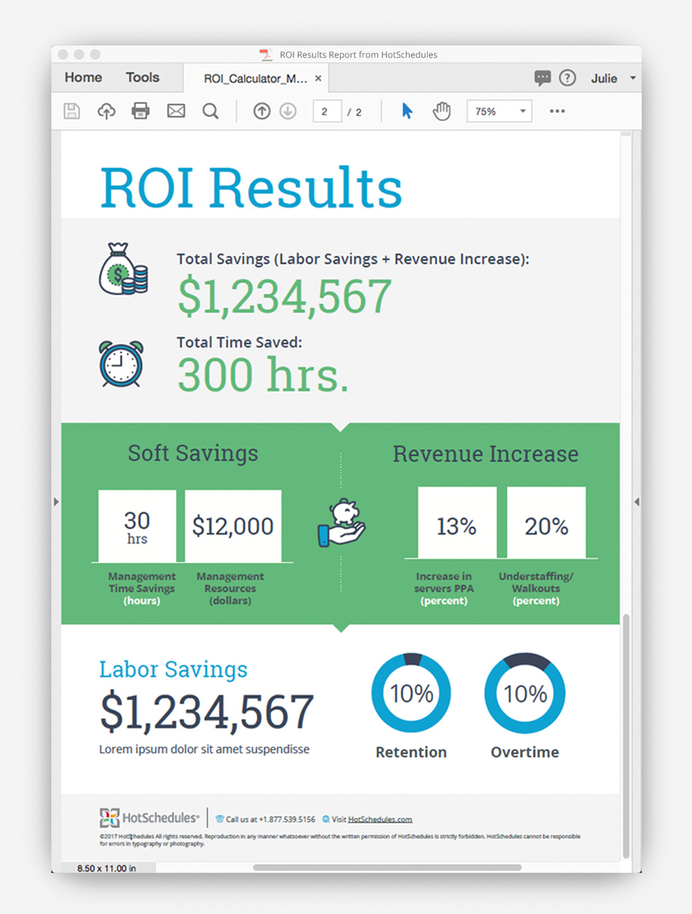 ROI Calculator Report Design by Julie Mendez
